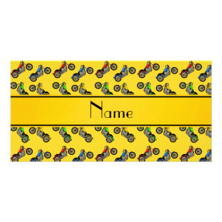Personalized name yellow motorcycles photo greeting card