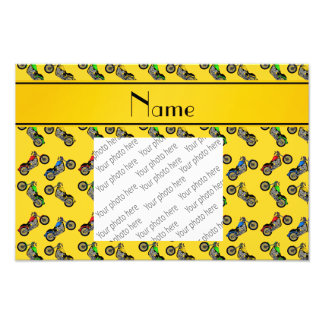 Personalized name yellow motorcycles photographic print