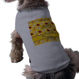 Personalized name yellow nurse pattern doggie tee shirt