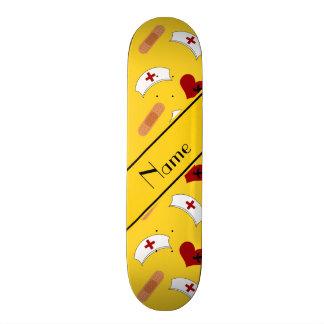 Personalized name yellow nurse pattern skate board