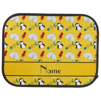 Personalized name yellow penguins igloo fish squid auto mat
