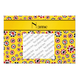 Personalized name yellow poker chips photo
