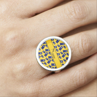 Personalized name yellow police box rings