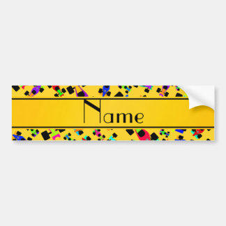 Personalized name yellow race car pattern bumper sticker