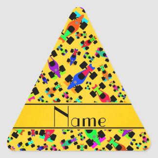 Personalized name yellow race car pattern triangle sticker