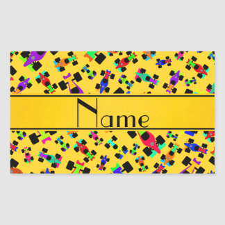 Personalized name yellow race car pattern