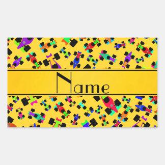 Personalized name yellow race car pattern rectangular sticker