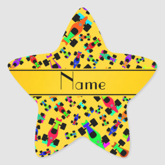 Personalized name yellow race car pattern star sticker