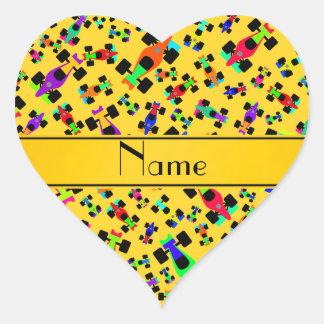 Personalized name yellow race car pattern heart sticker