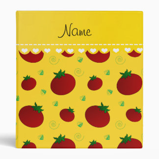 Personalized name yellow red tomatoes vinyl binder