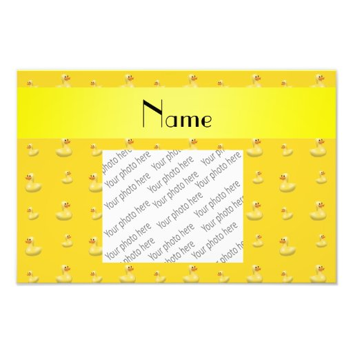 Personalized name yellow rubber duck pattern art photo