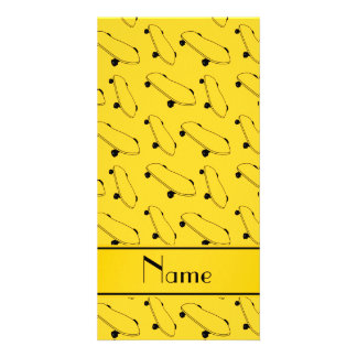 Personalized name yellow skateboard pattern photo card