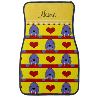 Personalized name yellow walrus red hearts stripes car floor carpet