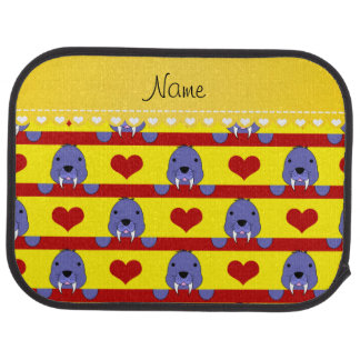 Personalized name yellow walrus red hearts stripes car mat
