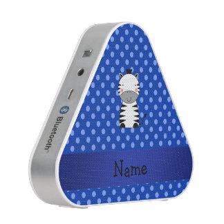 Personalized name zebra blue polka dots speaker