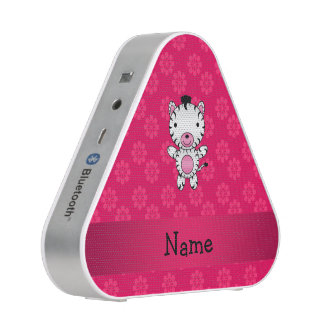 Personalized name zebra pink flowers bluetooth speaker
