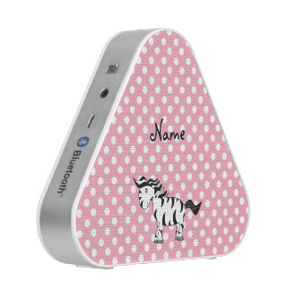 Personalized name zebra pink white dots speaker