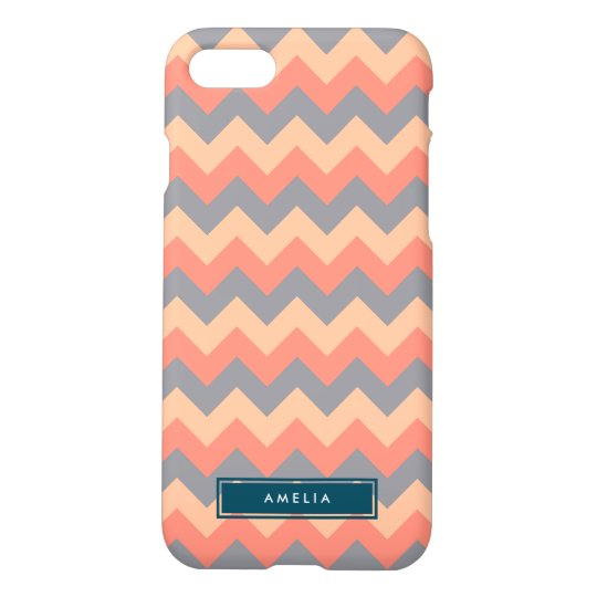 Personalized NameChevron Peach and Grey iPhone 7 Case