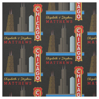 Personalized Names Chicago Illinois Skyline Fabric