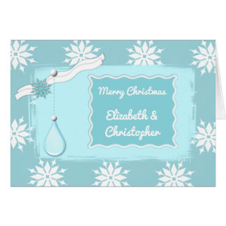 Personalized names Christmas ice blue snowflakes Card