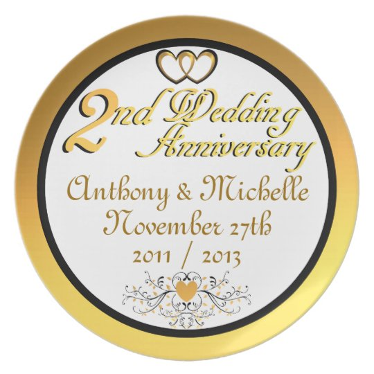 PERSONALIZED (NAMES/DATES) 2nd Anniversary Plate