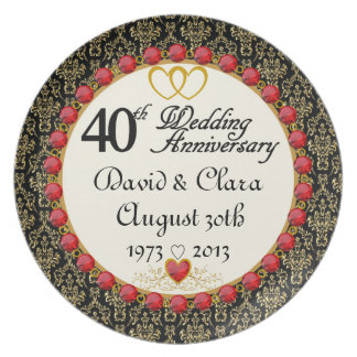 PERSONALIZED (NAMES/DATES) 40th Anniversary Plate