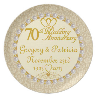 PERSONALIZED (NAMES/DATES) 70th Anniversary Plate