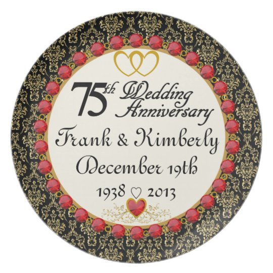 PERSONALIZED (NAMES/DATES) 75th Anniversary Plate