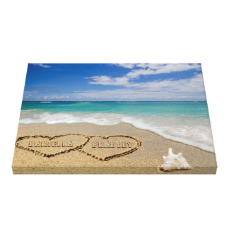 Personalized Names Hearts In Sand Art Canvas Print