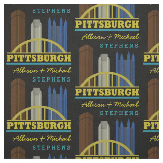 Personalized Names Pittsburgh Pennsylvania Skyline Fabric