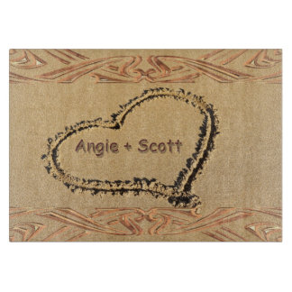 Personalized Names Romantic Heart on Beach Sand Cutting Board