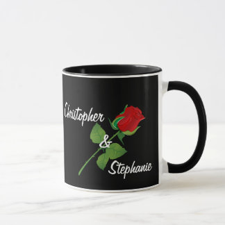 Personalized Names Romantic Red Rose Valentine Mug