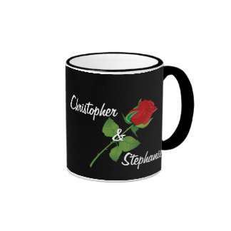 Personalized Names Romantic Red Rose Valentine Ringer Mug