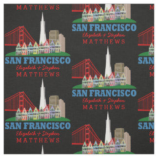 Personalized Names San Francisco Skyline Fabric
