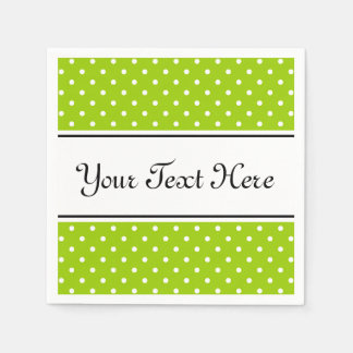 Personalized napkins | apple green and polka dots