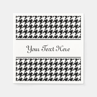 Personalized napkins | black houndstooth pattern paper napkins