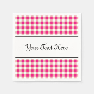 Personalized napkins | red gingham pattern design