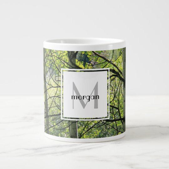 Personalized nature, white aspen, add name/initial giant coffee mug