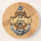 Personalized Nautical Anchor And Wheel Coaster