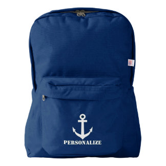 Personalized nautical anchor navy blue backpack