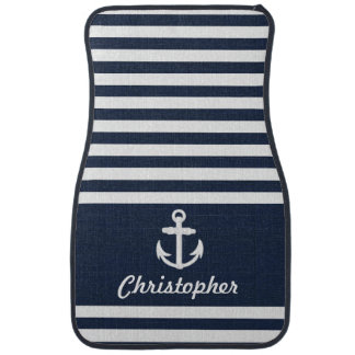 Personalized Nautical Anchor Navy Blue Stripe Car Mat