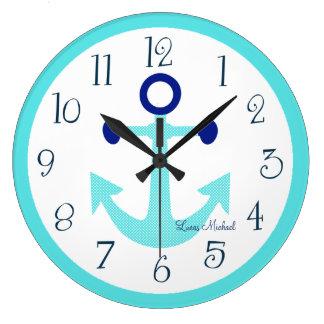 Personalized Nautical Aqua Anchor Nursery Clock
