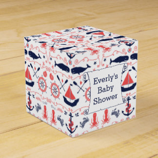 Personalized Nautical Baby Shower Gift Bag Favor Box