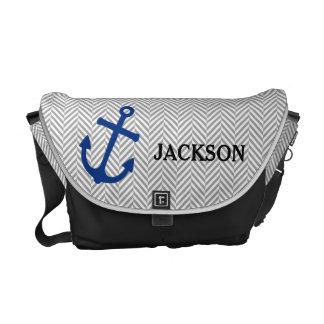 Personalized Nautical Blue Anchor Diaper Bag Courier Bag