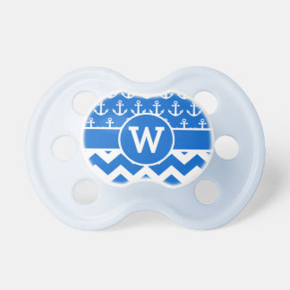 Personalized Nautical Blue Chevron Anchors Pacifier