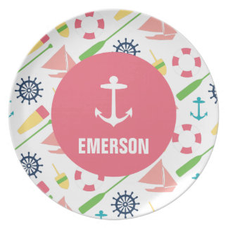 Personalized Nautical Kids Anchor Melamine Girl Party Plates