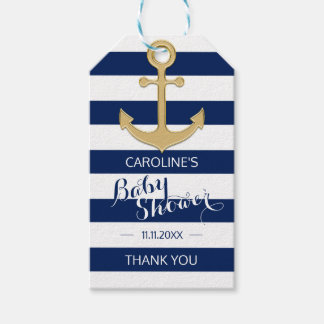 Personalized Nautical Navy Blue Anchor Baby Shower Gift Tags