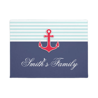 Personalized Nautical Navy Blue Design Family Name Doormat