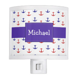 Personalized Nautical Nightlight with Anchors Nite Lites