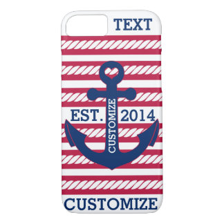 Personalized Nautical Patriotic Anchor Stripes iPhone 7 Case